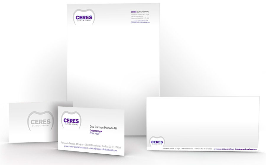 Papelería y tarjeta clínica dental Ceres.