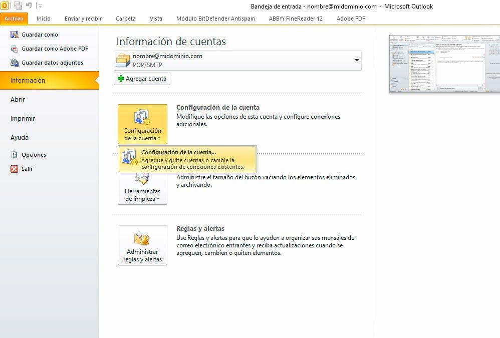 Outlook: Añadir cuenta nueva
